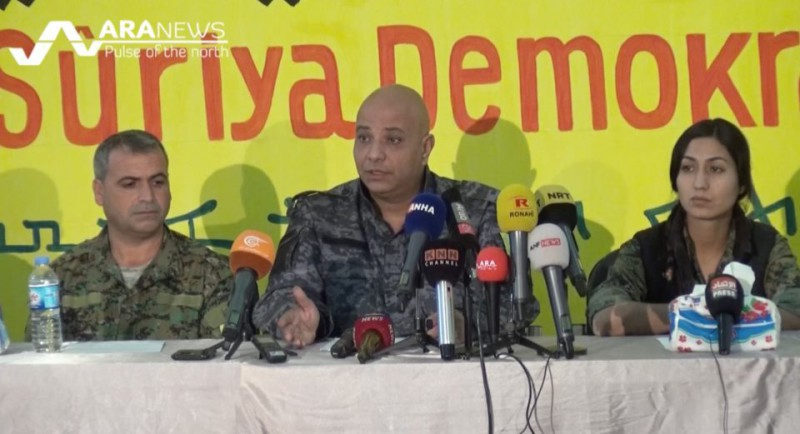 Leadership of the Syrian Democratic Forces speaking to a press conference in Hasakah. Photo: ARA News