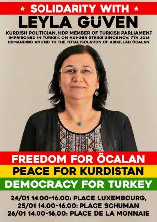 Koerdische mars van Antwerpen tot Brussel voor Leyla Güven en Abdullah Öcalan