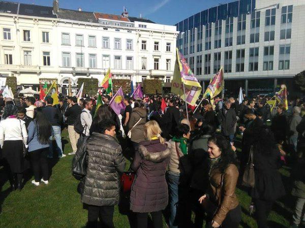 Protestmanifestatie tegen de aanslag in Akankara in Brussel op zondag 11 oktober 2015.