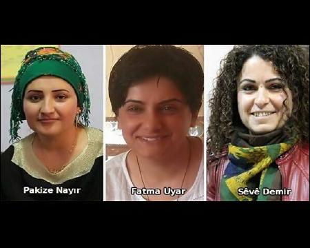 Three Kurdish woman politicians, DBP PM Seve Demir, KJA member Fatma Uyar, and Silopi People's Assembly Co-Chair Pakize Nayır have been killed in Turkish Kurdistan, southeast Turkey. Photo: ANF