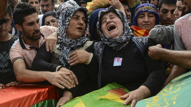 Funeral for those who died during the curfew in september 2015 in Cizre. (Getty images)