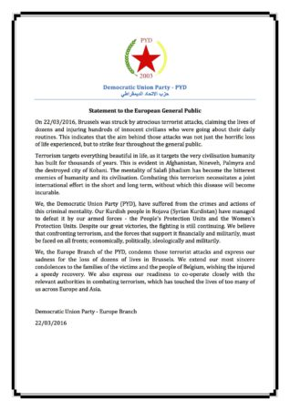 PYD Statement Brussels Attacks