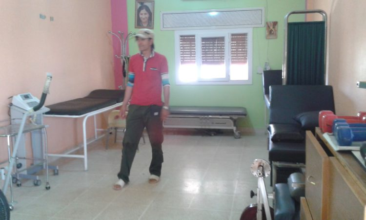 Heval Dorpic in a physiotherapy room in Qamishlo. This photo was taken in a Mala Birîndara, which means 'house of the injured' in Kurmancî. There are houses for injured YPJ (Women's Protection Units) and YPG (People's Protection Units) in all three cantons of Rojava.