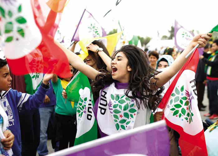 Supporters of the pro-Kurdish Peoples' Democratic Party, HDP