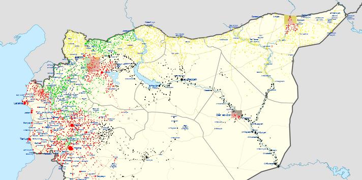 Rojava, december 2016. Geel: Rojava, groen: door Turkije gesteunde milities, zwart: Islamitische Staat, rood: Syrische regime. (Bron: wikimapia)