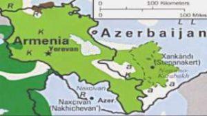 Kaart Armenie en Azerbeidzjan